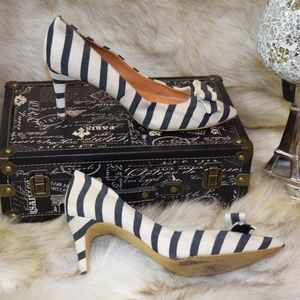 J CREW Nautical White Blue Striped Bow High Heels